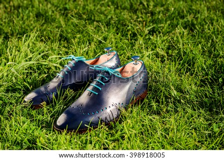 Blue shoes on green grass