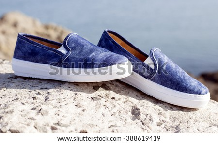 blue shoes sneakers - stock photo