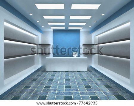 Blue Shop Store Interior Background with empty shelves for your products. With Cashier. - stock photo