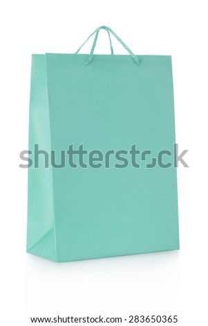 Blue shopping bag in paper isolated on white, clipping path included - stock photo