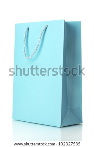 blue shopping bag isolated on white - stock photo