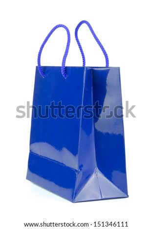 Blue  shopping bag on a white background. - stock photo