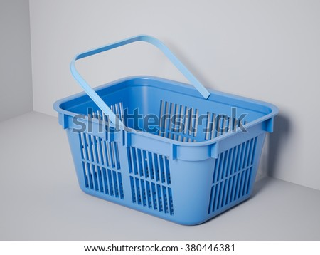 Blue shopping basket  - stock photo
