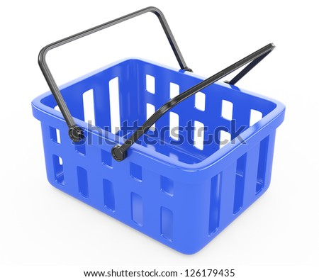 blue shopping basket isolated on white. 3d rendered image - stock photo
