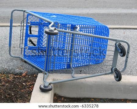 Blue shopping cart - stock photo