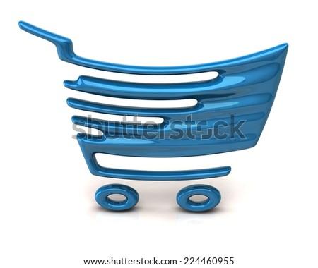 Blue shopping cart icon - stock photo