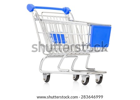 Blue shopping cart on white, clipping path included