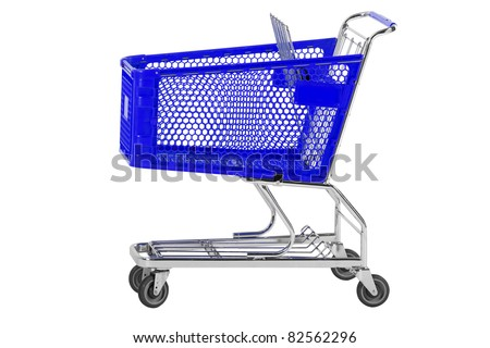 Blue shopping cart on white withe work path for cart - stock photo