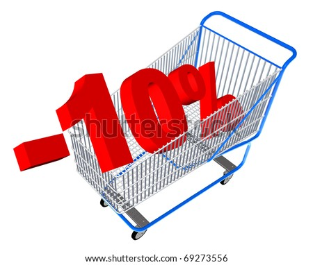 Blue shopping cart with discount percents - stock photo