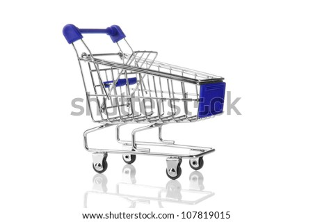 blue shopping cart with reflection isolated on white background. close-up