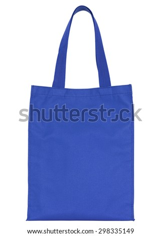 blue shopping fabric bag isolated on white with clipping path - stock photo