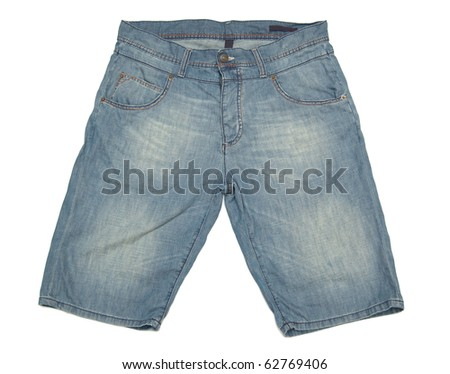 blue shorts isolated on white background - stock photo