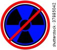 Blue sign against radiation on white background. - stock photo