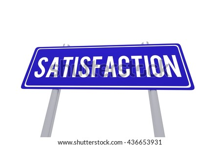 Blue sign satisfaction isolated on the white background