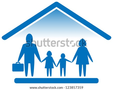 blue sign with large family silhouette - stock photo
