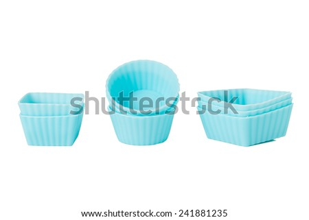 Blue Silicon Chocolate Moulds Isolated on a White Background. - stock photo