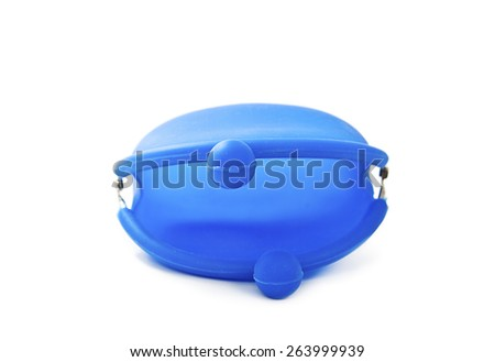 Blue silicone coin purse. Isolated on white background - stock photo