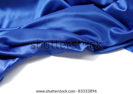 blue silk background - stock photo