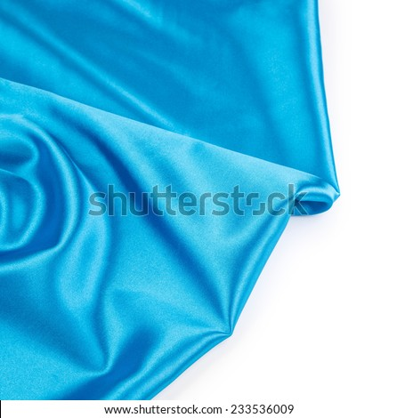 Blue silk cloth texture closeup. Whole background.