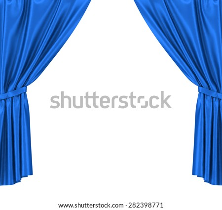 Blue silk curtains with garter isolated on white background. 3d illustration High resolution - stock photo
