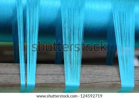 Blue Silk Weaving - stock photo
