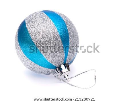 blue-silver christmas ball on white background - stock photo