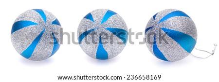 blue-silver christmas balls on white background - stock photo