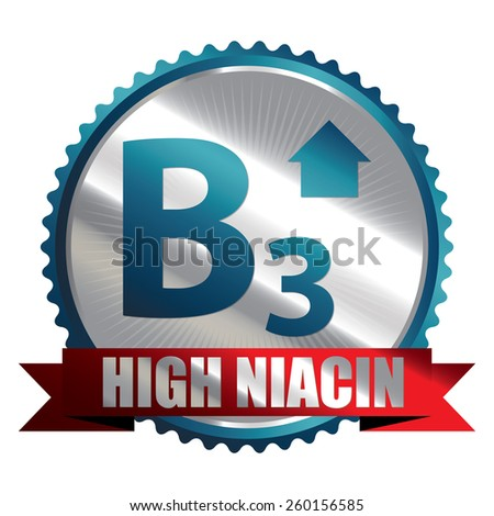 Blue Silver High Niacin B3 Vitamin Ribbon, Badge, Icon, Sticker, Banner, Tag, Sign or Label Isolated on White Background - stock photo