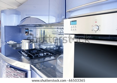 Blue silver kitchen modern architecture decoration interior design - stock photo