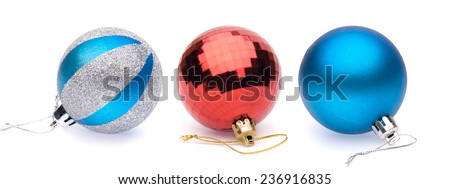 blue-silver, red, blue christmas balls on white background - stock photo