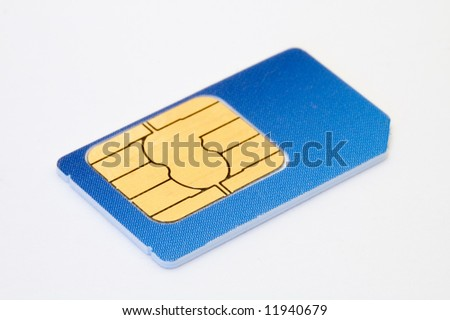 blue sim card isolated on white background - stock photo