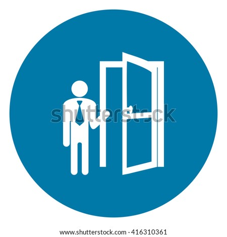 Blue Simple Circle Businessman With Door Opened Infographics Flat Icon, Sign Isolated on White Background - stock photo