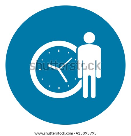Blue Simple Circle Businessman With Time Clock Infographics Flat Icon, Sign Isolated on White Background  - stock photo