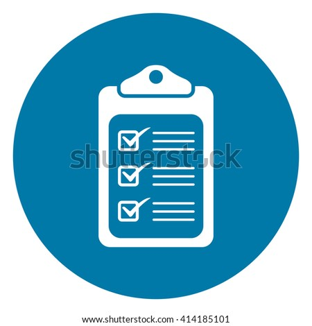 Blue Simple Circle Document Infographics Flat Icon, Sign Isolated on White Background - stock photo