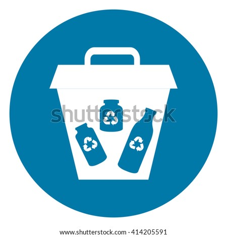 Blue Simple Circle Glass Recycle Bin Infographics Flat Icon, Sign Isolated on White Background - stock photo