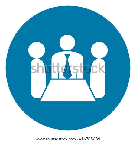 Blue Simple Circle Group of Businessman Meeting, Discussion Flat Icon, Sign Isolated on White Background - stock photo