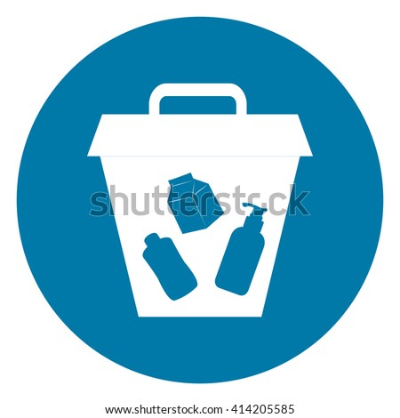 Blue Simple Circle Litter Bin Infographics Flat Icon, Sign Isolated on White Background - stock photo