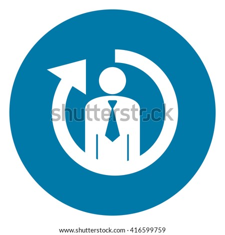 Blue Simple Circle Staff or Employee Turnover Infographics Flat Icon, Sign Isolated on White Background