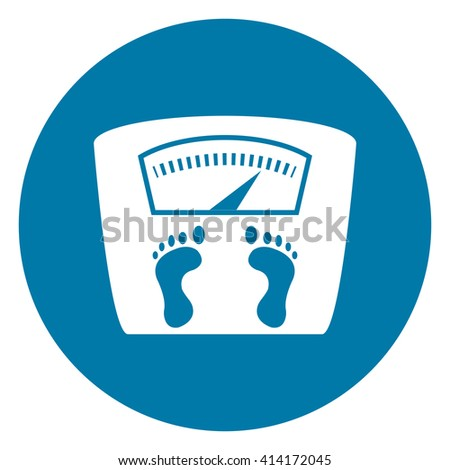 Blue Simple Circle Weight Scale Infographics Flat Icon, Sign Isolated on White Background - stock photo
