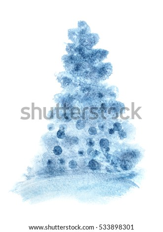 Blue simple watercolor Christmas tree - raster illustration