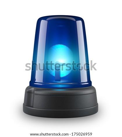 Blue siren - 3d illustration on white background  - stock photo
