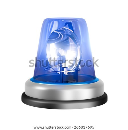 Blue siren isolated on a white background - stock photo