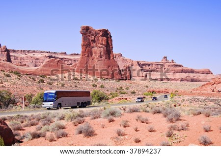 Blue skies and Sunny day at Arches Canyon, bus tour,Utah. USA - stock photo