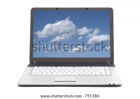blue skies on the screen of notebook - stock photo