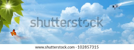 Blue skies with bright sun as backgrounds - stock photo