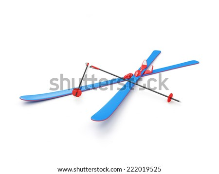 Blue Skiing isolated on white background - stock photo
