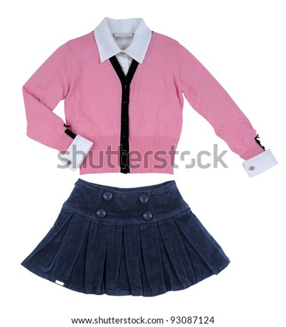blue skirt and pink jacket - stock photo