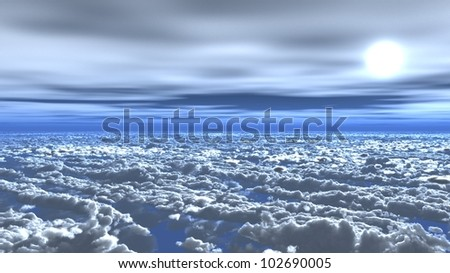 blue sky above the clouds in flight - stock photo