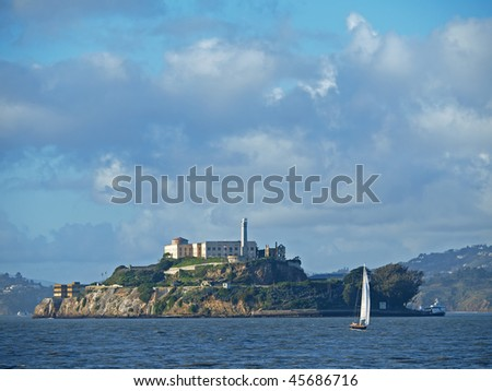 Blue Sky and Alcatraz Island in San Francisco - stock photo