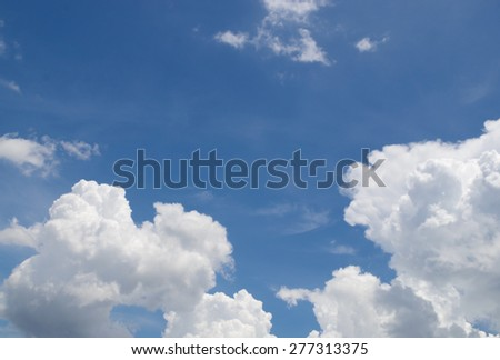 blue sky and beautiful cloud with sun light - stock photo